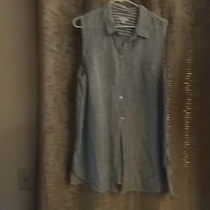 JJill, sleeveless linen tunic shirt